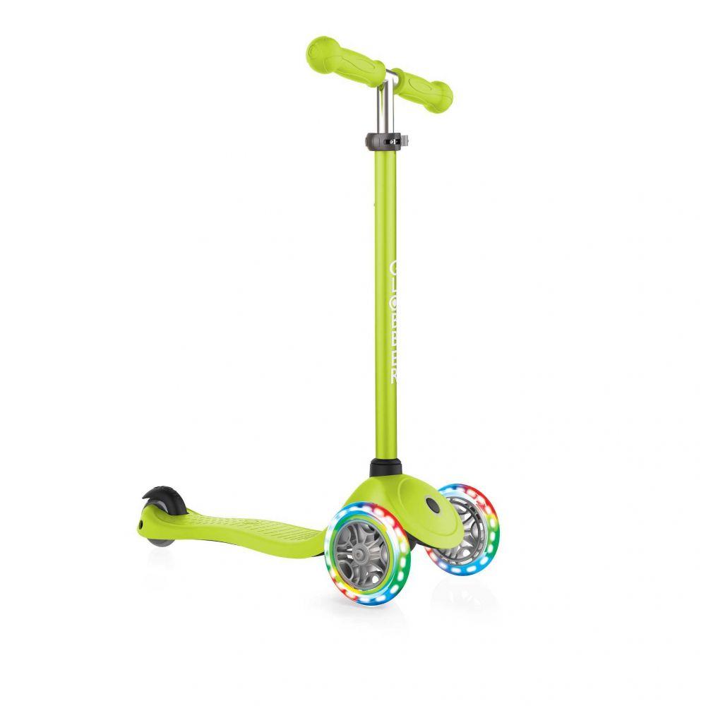 Globber Primo Løbehjul til Børn m/ LED lys Lime Grøn