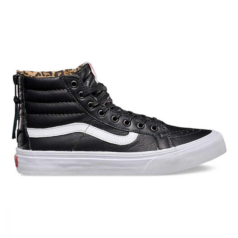 Vans Sk8 Slim Zip Leather Sko Sort/Leopard