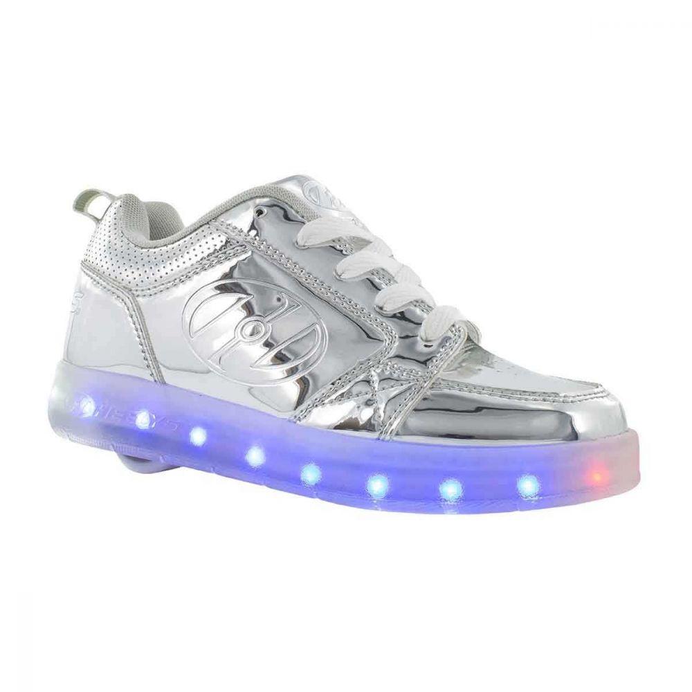 Heelys Premium 1 Lo Sølv Krom LED lys
