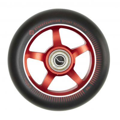 Streetsurfing 100 mm Aluminiums Wheel. Black Red, Sold as pair.