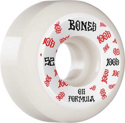 Bones Wheels Skateboard 100 52mm 100A White V5 Sidecut 4-pak