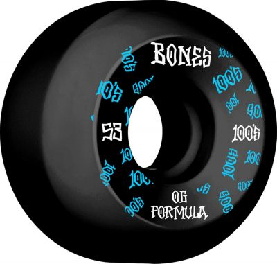 Bones Wheels Skateboard 100 53mm 100A Black V5 Sidecut 4-pak