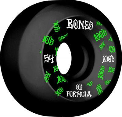 Bones Wheels Skateboard 100 54mm 100A Black V5 Sidecut 4-pak