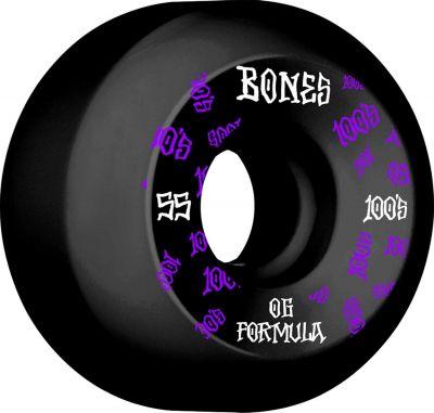 Bones Wheels Skateboard 100 55mm 100A Black V5 Sidecut 4-pak