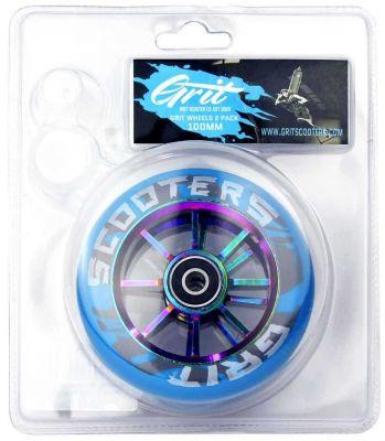 GRIT 100mm Aluminiumshjul til Løbehjul Blå/Neochrome 2-pak