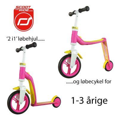Scoot & Ride Highwayfreak - Løbehjul og løbecykel i ét Pink/Gul