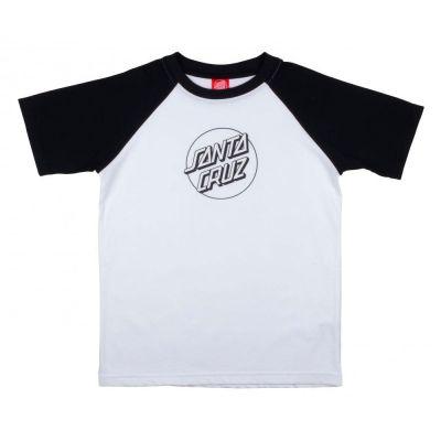 Santa cruz Youth Opus Dot Raglan T-Shirt Hvid/Sort
