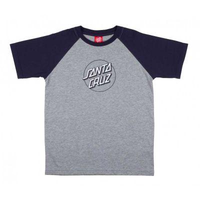 Santa cruz Youth Opus Dot Raglan T-Shirt Grå Melange/Navy