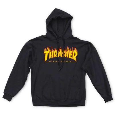Thrasher Flame Hoody Black