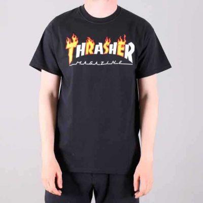 Thrasher Flame Magazine Kortærmet T-Shirt Sort
