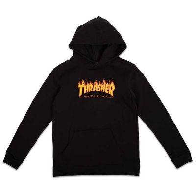 Thrasher Flame Logo Hættetrøje Børn Sort