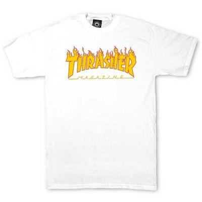 Thrasher Flame Logo T-Shirt Børn Hvid